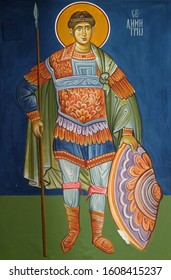 OHRID, MACEDONIA - MAY 04, 2019: Saint Demetrios of Thessaloniki, fresco in the Church of Saint Paraskeva of the Balkans near Saint Naum Monastery, Ohrid in Macedonia