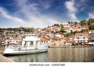 OHRID, MACEDONIA, MAY 10, 2016: View of city Ohrid, city of UNESCO, Macedonia