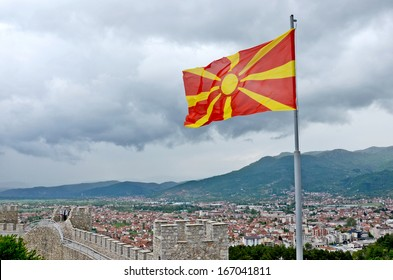 OHRID, MACEDONIA, MAY 18, 2011. A view of the town of Ohrid from above, with the wall of the fortress of Tsar Samuil in the front, in Ohrid, Macedonia, on May 18th, 2011. Macedonia's flag revealed.