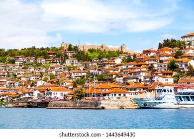 Ohrid, Macedonia - May 21, 2019:  Ohrid City seen from the Ohrid lake