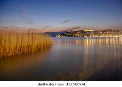 Ohrid, Macedonia – Night scene - Ohrid Port