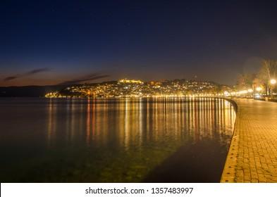 Ohrid, Macedonia – Night scene  - view toward old town