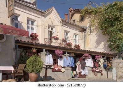 Ohrid, Macedonia - October 14, 2018: a shop of traditional costumes in the historical center of Ohrid