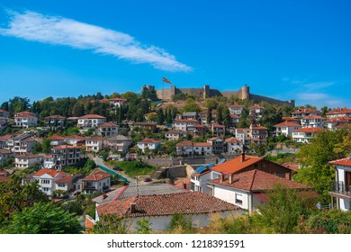 Ohrid, Macedonia. October 18, 2018: The old city of Ohrid, with the medieval fortress at the top of the hill. city ohrid, which is famous for its unesco listed historical center and beautiful lake
