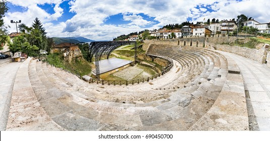 Ohrid - Macedonia. Panorama of the antique ancient greek amphitheater or antique theatre of Ohrid with view on old town of Ohrid and Lake Ohrid in Macedonia