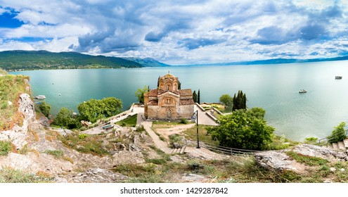 Ohrid Macedonia Panorama of Church of St. John Kaneo, panorama