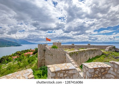 Ohrid - Macedonia. Samuels fortress with Macedonian flag and Lake Ohrid in the background. Ohrid - Macedonia