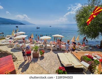 OHRID, MACEDONIA - SEPTEMBER 2, 2018. Ohrid lake, Macedonia