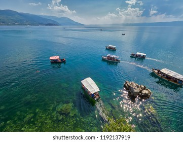 OHRID, MACEDONIA - SEPTEMBER 2, 2018. Ohrid lake, Macedonia