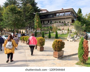 Ohrid, Republic of Macedonia (FYROM) - 14 October, 2018: The 10th Century Eastern Orthodox monastery church of St. Naum situated along Lake Ohrid, south of the city of Ohrid.