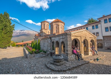 Ohrid, Republic of Macedonia (FYROM) - 16 October, 2018: The 10th Century Eastern Orthodox monastery church of St. Naum situated along Lake Ohrid, south of the city of Ohrid. Top sightseeing