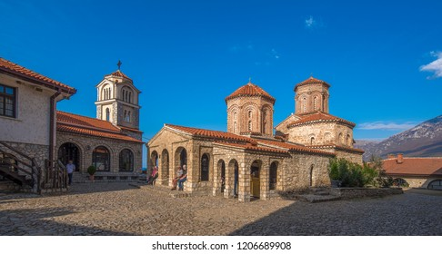 Ohrid, Republic of Macedonia (FYROM) - 16 October, 2018: Panorama of The 10th Century Eastern Orthodox monastery church of St. Naum situated along Lake Ohrid, south of the city of Ohrid.