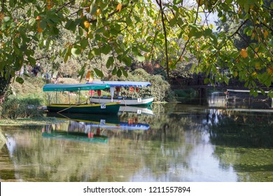 Ohrid, Republic of Macedonia (FYROM) - October 14, 2018: Boats in the monastery of saint Naum, Ohrid Macedonia