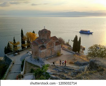 Ohrid, Republic of Macedonia - October 14, 2018: Jovan Kaneo church in Ohrid in an autumn day during sunset , Republic of Macedonia