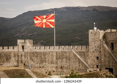 Ohrid town, The North Republic of Macedonia: Aug 2018 - Macedonian flag waving in the wind at Samuel's Fortress in Ohrid town- Travel Sightseeing