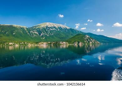 Ohrid/Macedonia - June 2017: Lake Ohrid scenery