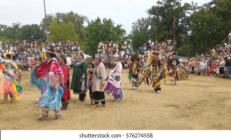 Ohsweken, Ontario, Canada - July 24, 2016 : Six Nations of the Grand River Pow Wow.  Turtle Island. Powwow gate opening. The Grand Entry. Dancers carry with pride and dignity. Mobile photo.