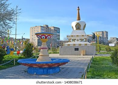 O.I. Gorodovikov Square with the fountain and a mortar of Reconciliation. Elista, Kalmykia