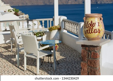 Oia, Greece - August 02, 2012: Sea side terrace with a stunning sea view in Oia, Greece.