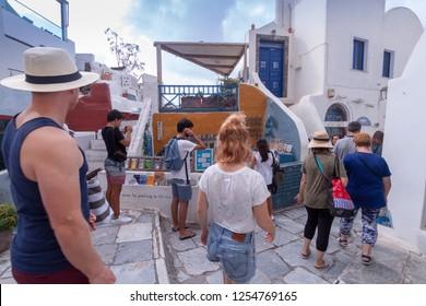 Oia Santorini Greece August 28 2018 Oia Street view Atlantis famous library
