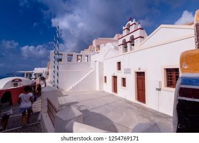 Oia Santorini Greece August 28 2018 Oia Street view