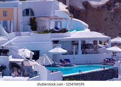Oia Santorini Greece August 28 2018 Oia view pool