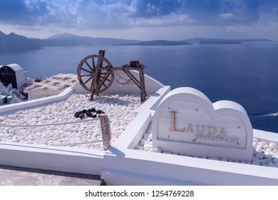 Oia Santorini Greece August 28 2018 Oia view wooden wheel