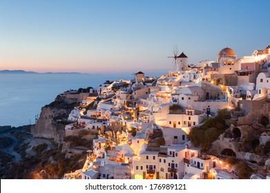 Oia Santorini Greece at dusk