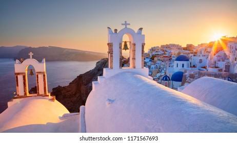 Oia, Santorini. Image of famous cyclades village Oia located at the island of Santorini, South Aegean, Greece.