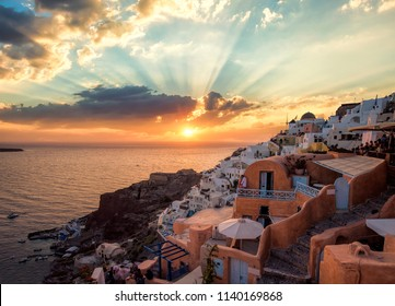 Oia in Santorini at sunset
