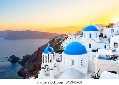 Oia at sunset, Santorini island, Greece