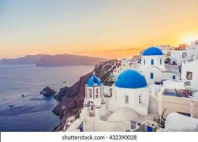 Oia at sunset, Santorini island, Greece. Instagram vintage style