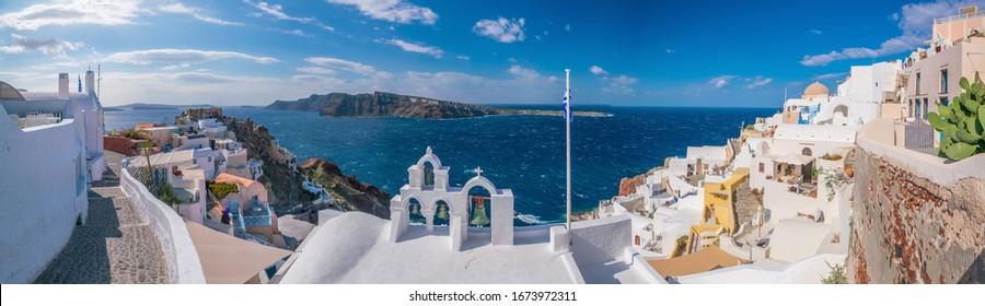 Oia town cityscape at Santorini island in Greece. Aegean sea