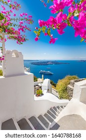 Oia town on Santorini island, Greece. Traditional famous white blue houses wih flowers under sunny weather over the Caldera, Aegean sea. Beautiful summer landscape, sea view, luxury travel vacation