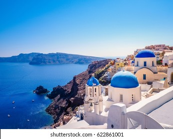 Oia town on Santorini island, Greece. Famous Architectures with Blue Domes.