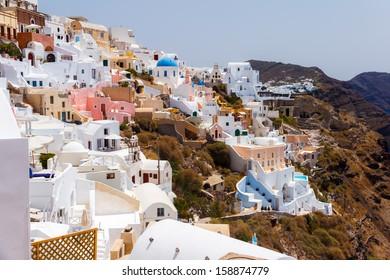 Oia village building details in Santorini, Greece