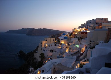 Oia village at dusk, Santorini Island, Greece