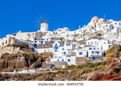 Oia village on Santorini island, Greece. view from Amoudi port.