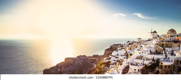 Oia village at sunset on Santorini island, Greece.