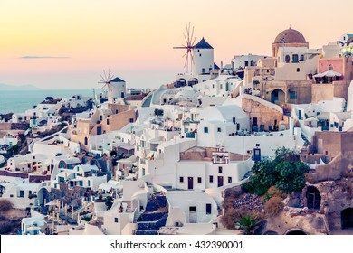 Oia village at sunset, Santotini island, Greece. Instagram vintage style
