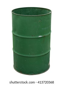 Oil barrel dirty drum open top isolated on white background. Thai has clipping path.