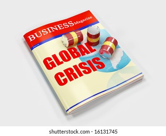 oil barrel on business magazine isolated on white background