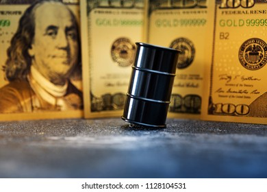 Oil Barrel and US Dollar Oil crisis concept