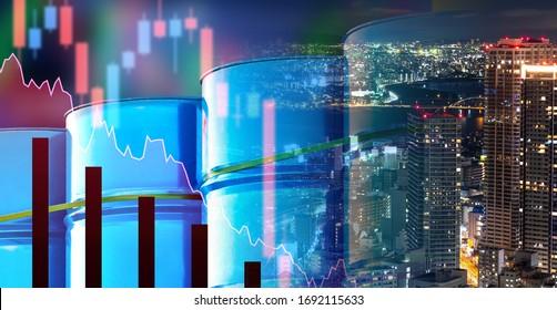 Oil barrels against the backdrop of the city. Concept - falling oil consumption in Asia. Decrease in consumption of oil products. Asian travelers. Concept - falling consumption led to lower prices
