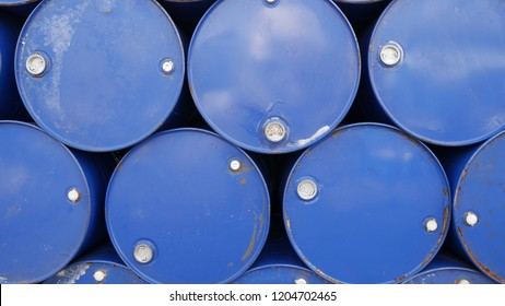 oil barrels blue or chemical drums at outdoor storage yard
