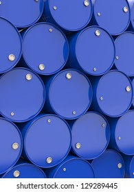 Oil Barrels or Chemical Drums Stacked Up. Industrial Background.