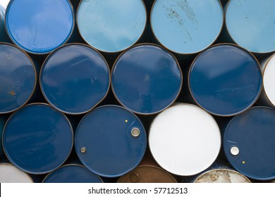 oil barrels  or chemical drums stacked up for cargo