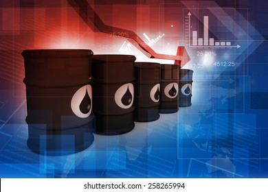 Oil Barrels with falling oil price graph