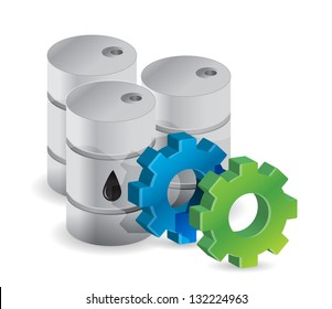 oil barrels and industrial gears illustration design over white
