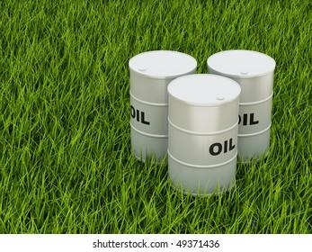 Oil barrels on green grass